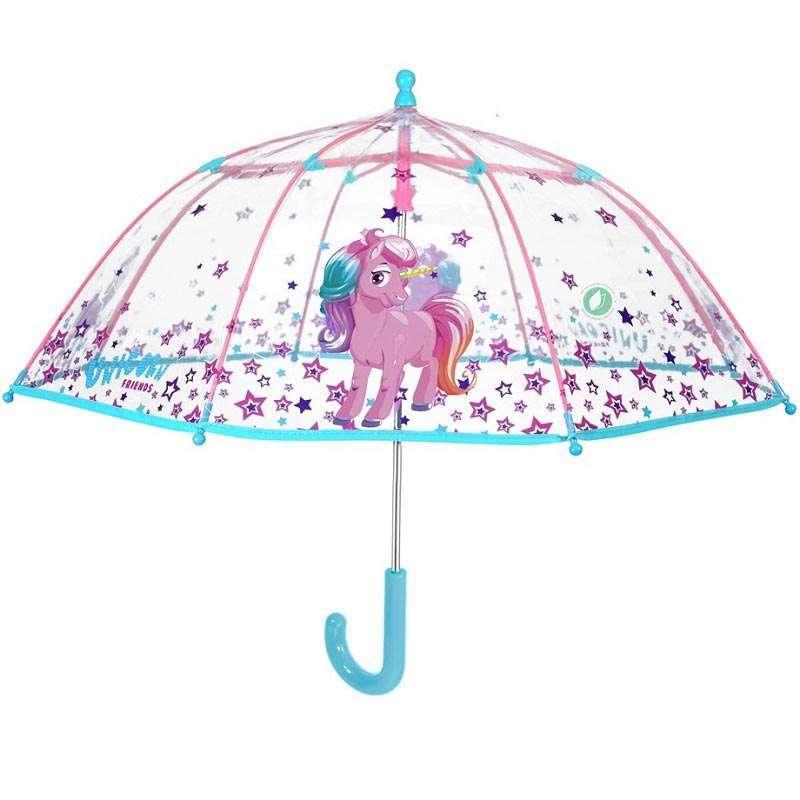 Paraguas Transparente Unicornio Niña
