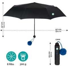 Paraguas Negro Con Pompón De Color Azul
