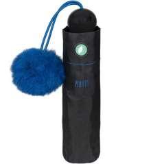 Zwarte Paraplu Met Pompom Blauw