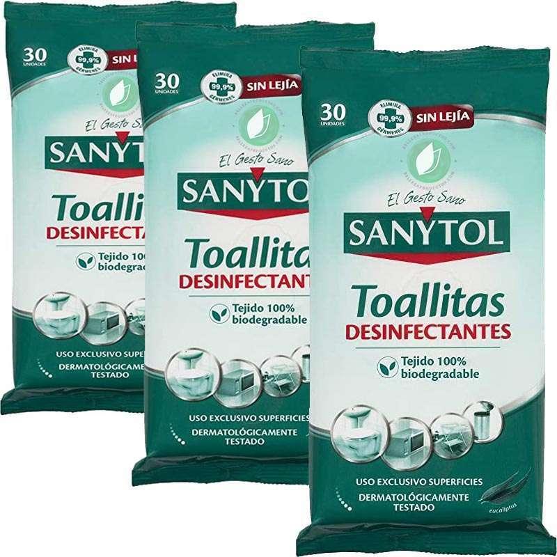 Sanytol Toallitas Desinfectantes Multiuso 30 Unidades Pack De 3 Ud