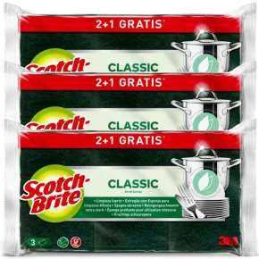 Estropajo Scotch-Brite Fibra Verde Clásico 2+1 Unidades Pack De 3
