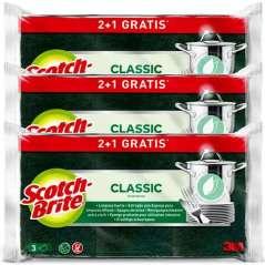 Scotch-Brite Classic Green Fiber Scourer 2 + 1 Units Pack 3