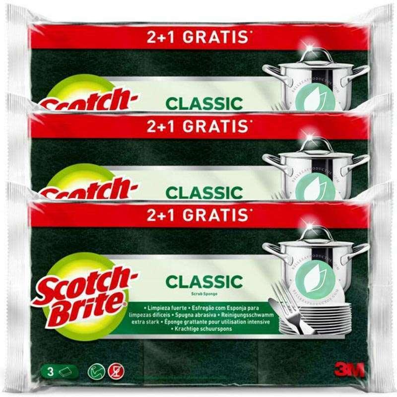 Scotch-Brite Classic Green Fibre Schuursponsje 2 + 1 Eenheden Pak 3