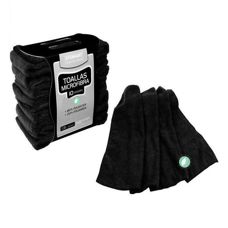 10 Toallas De Microfibra Color Negro 40 x 75 cm