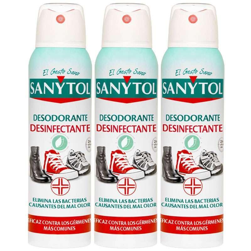 Sanytol Desinfectante Desodorante De Zapatos Spray Pack De 3 Ud 150 ml