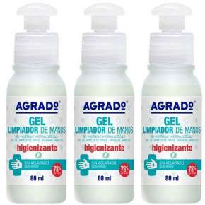 Gel Desinfectante De Manos Pack 3 Agrado De 80 ml