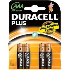 Duracell Batterie Alcaline Plus AAA Pack 4